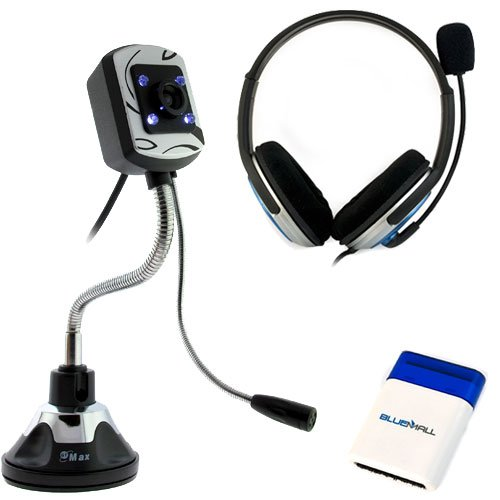 Gtmax Black/Blue Microphone Headset + Black 12Mp 4 Led Light & Microphone Usb Webcam + Mini Brush For Computer, Pc, Macbooks, Notebooks, Laptops, Tablets