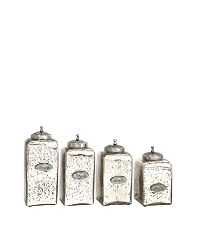Set of 4 Numbered Mercury Glass Jars
