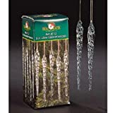 TWISTED CLEAR GLASS ICICLE ORNAMENTS 12 PC