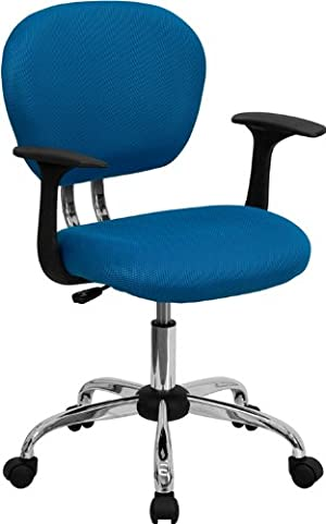Flash Furniture H-2376-F-TUR-ARMS-GG Mid-Back Turquoise Mesh Task Chair