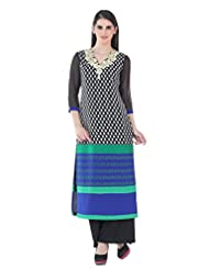 Fashion205 Black And Blue Printed Georgette Embroidered Long Kurti