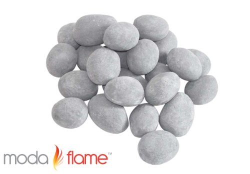 Moda Flame 24 Piece Ceramic Fireplace Pebble Set In Gray