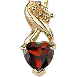 Trendy and Vibrant Heart Shape Garnet Diamond Pendant 14Kt Yellow Gold
