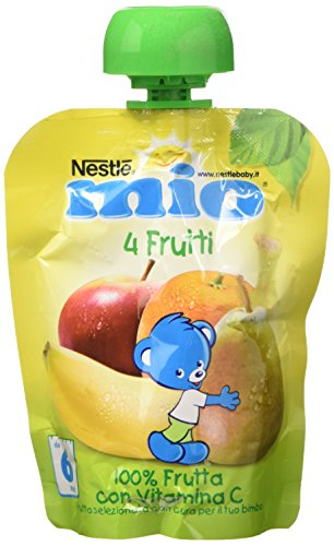 Nestlé Mio Frutta Grattugiata da Spremere 4 Frutti 100% Frutta senza Glutine da 6 Mesi, 90ml