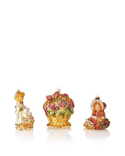 Krebs Glas Lauscha Set of 3 Floral Themed Ornaments As You See