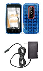 HTC EVO 3D / EVO V 4G (Sprint / Virgin Mobile) Premium Combo Pack - Blue Thermoplastic Polyurethane TPU Gel Skin Case Cover + Atom LED Keychain Light + Wall Charger