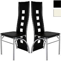 Miadomodo - Chaises de salle à manger en simili cuir - Noir - design moderne - Set de 2 - COLORIS ET SET AU CHOIX