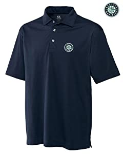 Seattle Mariners Mens DryTec Medina Tonal Stripe Polo Shirt Navy Blue by Cutter & Buck