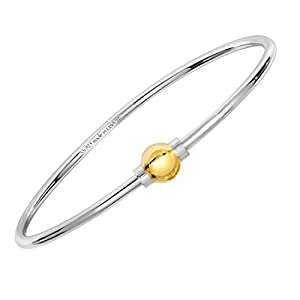 Cape Cod Jewelry 925 Sterling Silver,14k solid Gold Ball Screw Bracelet Size 6.5