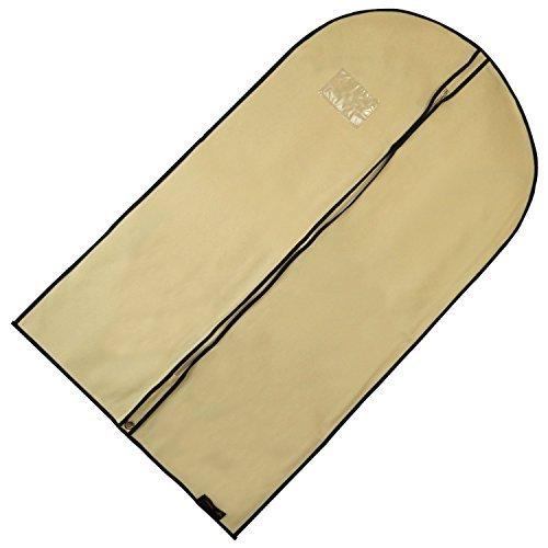 Hangerworld - 3 Custodie porta abiti traspirante beige crema con bordi neri - 104 cm