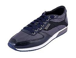 eezeelife Unisex Dark Blue Leather|Polyester Casual Shoe 45