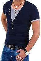 Carisma 2in1 T-Shirt V-Neck - Col en V profond - modèle T202 - couleur : Marine et Gris - Taille : XL