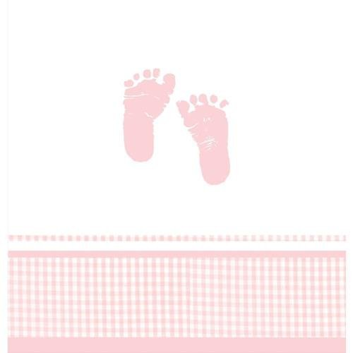 Plaid It'S A Girl Footprints Plastic Tablecover, Baby Shower Supplies And D�Cor