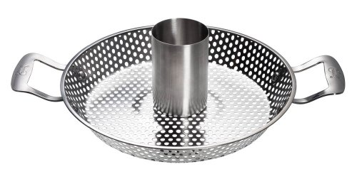 Emeril J1260464 Outdoor Grilling Stainless Steel Beer Can Chicken Roaster Pan, Silver