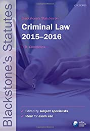 Blackstone's Statutes on Criminal Law 2015-   2016 (Blackstone's Statute Series)