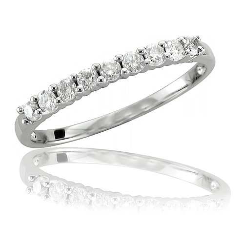10k White Gold Wedding Diamond Band Ring (HI, I, 0.27 carat)