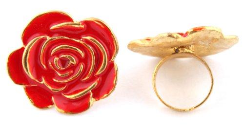 Ladies Red Flower Shape Metal Adjustable Finger Ring