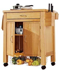 Modren Design Deluxe Rubberwood Kitchen Storage Trolley  With 2 Shelves, 1 Drawer Divided Into 3 Compartments, Wine Rack , 2 Removable Baskets, Knife Block, Waste Box, Mounted On Castors (H87, W83, D48cm) - Natural Finish
