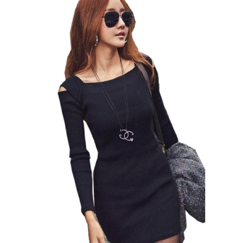 Fashion Women'S Square Neckline Cut Out Shoulders Mini Dress Stretchy One-Piece, Medium, Black