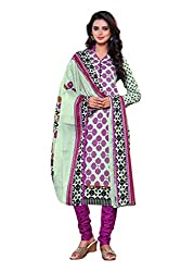 Salwar Style Design Women's Cotton Unstitched Salwar Suit Dress Material (SS1038_Free Size_Purple & White)