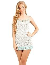 68dec650f Adriana Arango 2 Piece Women s Trendy Chemise Pajama Lace Boyshort Set  7554