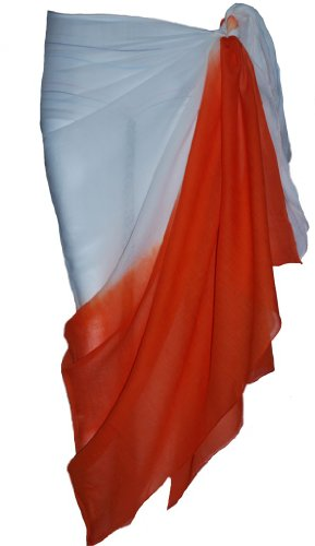 White and Orange Two Tone Sarong