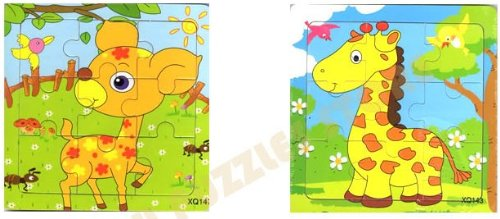 2pcs Wooden Cartoon Animal Jigsaw Puzzle Early Educational Toys Gifts (Deer + Giraffe?