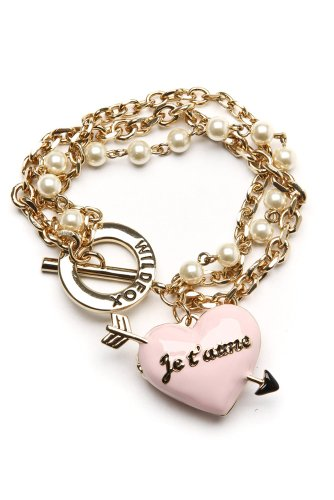 Wildfox Couture - Women's Heart Locket and Charms Chain Bracelet (Gold)