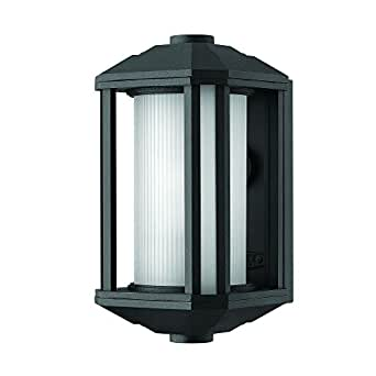 Outdoor Wall Light with White Glass in Black Finish Wall