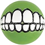 Rogz Grinz Dog Toy Ball to Hide Treats, Small, Lime