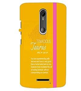 PrintDhaba Sunsign Taurus D-1223 Back Case Cover for MOTOROLA MOTO X3 (Multi-Coloured)