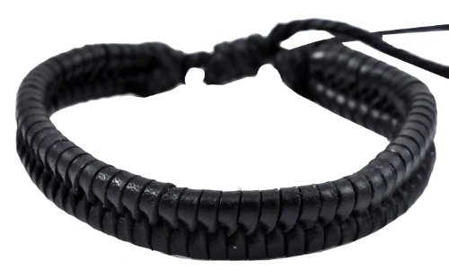 Black Braided Leather Bracelet / Leather Wristband