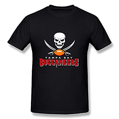 CaiTian Men's Tampa Bay Buccaneers Wordmark And Logo T-Shirt
