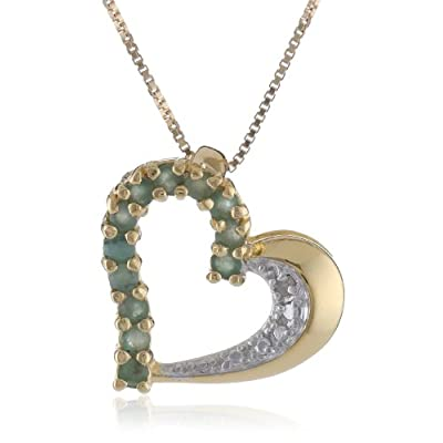 18k Yellow Gold Plated Emerald and Diamond Half- and -Half Heart Pendant Necklace: Jewelry
