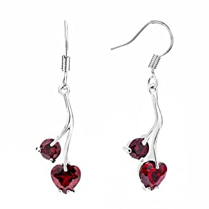 Pugster Jan Birthstone Garnet Red Crystal Heart Dangle Earrings