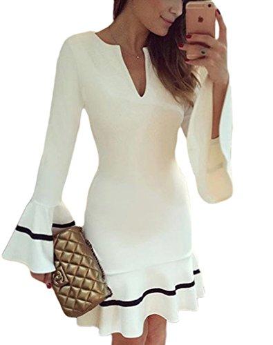 Sidefeel Women Cute V Neck Long Sleeve Pencil Sheath Mini Dress Small White