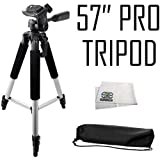 Professional 57-inch Tripod 3-way Panhead Tilt Motion with Built In Bubble Leveling for Sony Alpha DSLR SLT-A33, A35, A37, A55, A57, A58, A65, A77, A77 II, A99, A100, A200, A230, A290, A300, A330, A350, A380, A390, A450, A500, A560, A550, A700, A850 & A900 Digital Cameras