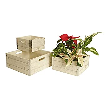 Wald Imports Set of 3 Square Wood Crates with Metal Trim, Distressed White
