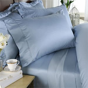 600 Thread Count Egyptian Cotton Attached Waterbed Sheet Set, King, Solid Blue front-1022842