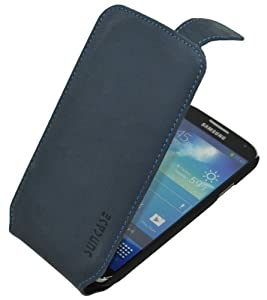 Suncase Premium Flipstyle Ledertasche für das Samsung Galaxy S4 i9505 pebble-blue