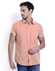 Sting Orange Solid Slim Fit Half Sleeve Cotton Casual Shirt For Men