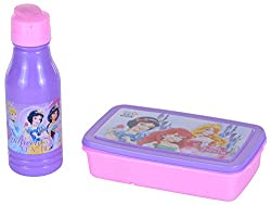 SKI Disney Printed Gift Set of Lunch Box with Inner Container, Fork Spoon and Flip Top Water Bottle for Kids, 3 Pieces ...