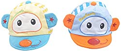 Kandyfloss Babies Caps - Pack of 2 Caps (MRHKFCAPS07, Multi-Colored, 0-3 Months)