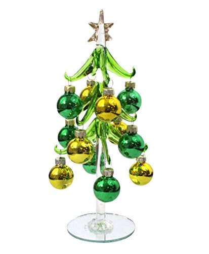 DEI 8-Inch Glass Ornament Christmas Tree (Green/Gold)