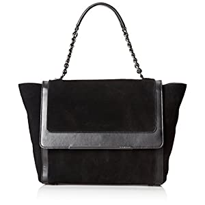 BCBG Phebe Runway Suede Satchel,Black,One Size