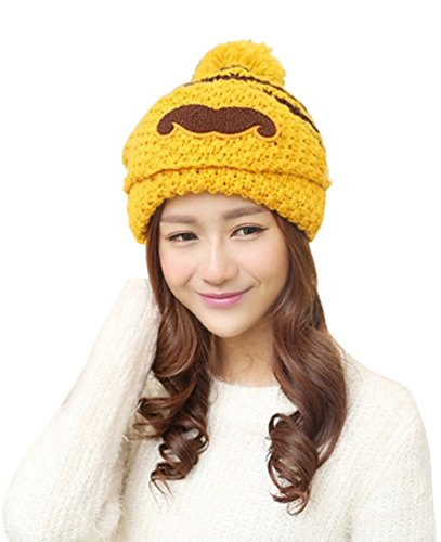 Womens Winter Knit Crochet Beanie Hat Cap Wind Mask, Yellow