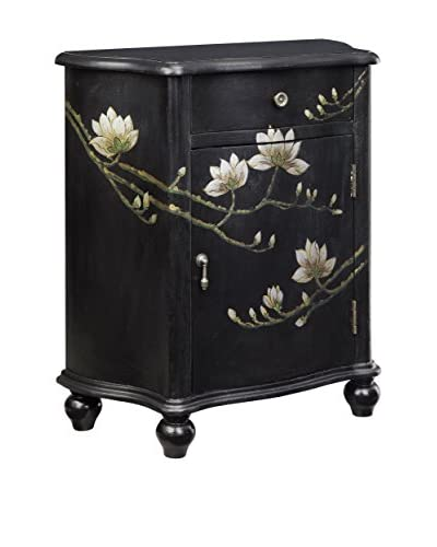 Coast to Coast Flower 1-Drawer & 1-Door Cabinet, Black
