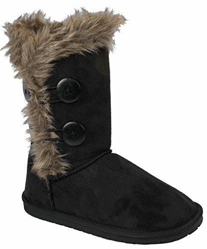women-elegant-black-wooden-button-soft-faux-fur-lined-shearling-mid-calf-winter-snow-boots-9