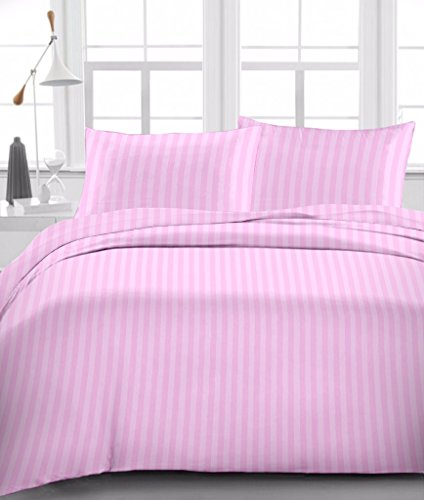 Linen Place Egyptian Cotton 500-Thread-Count Sateen Finish 3 PCs Set King Size (1 fitted sheet Poket Depth (+21 Inch) & 2 Pillow cover) Pink Stripe