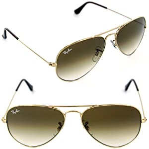 Ray-Ban RB3025 001/51 55mm Aviator Gold Frame / Light Brown Gradient Lenses Made In Italy Sunglasses